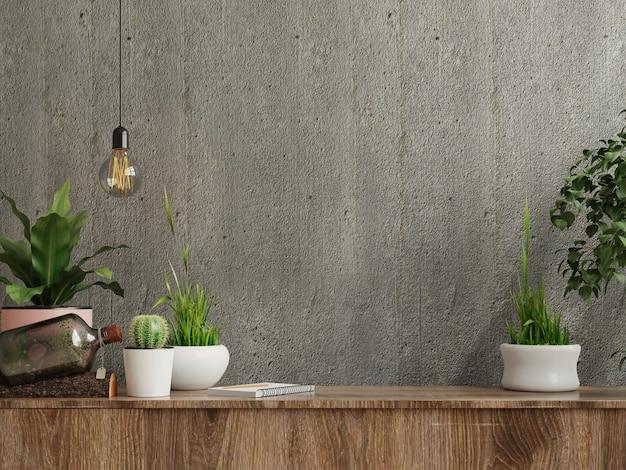 Parede de concreto em branco com plantas ornamentais e itens de decoração no armário de madeira, renderização em 3d