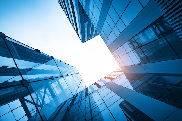 Parede de cortina de vidro do arranha-céu, prédio de escritórios moderno em qingdao, china