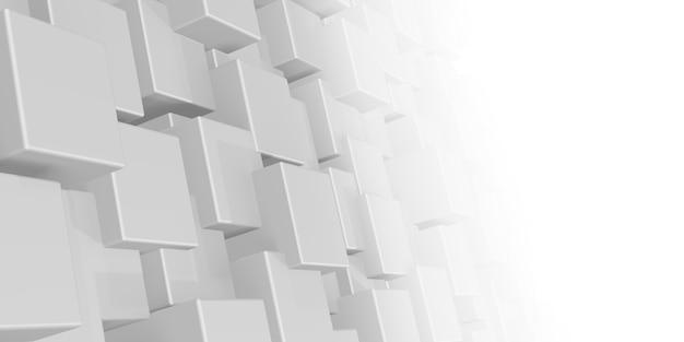 Parede de cubo quadrado branco em conceito geométrico de neblina gradiente com caixas ou colunas aleatórias movimento tecnologia de ondulação radial