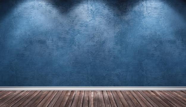 Parede de gesso azul, quarto interior de piso de madeira.
