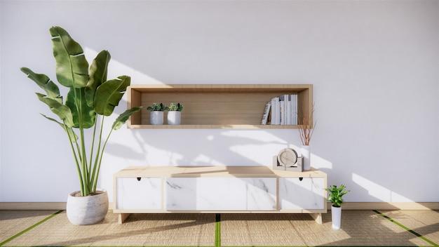 Parede de granito branco sala de estar com decoração estilo japão design e parede de prateleira. renderização em 3d