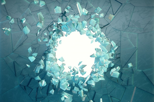 Parede de ilustração 3d de gelo com um buraco no centro de estilhaços em pedaços pequenos. lugar para seu banner, propaganda. a explosão causou uma rachadura na parede. buraco de explosão na parede de gelo rachado.