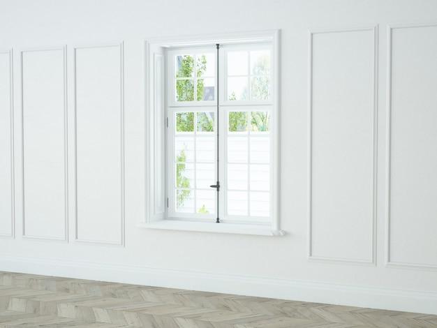 Parede de janela elegante branca com moldura