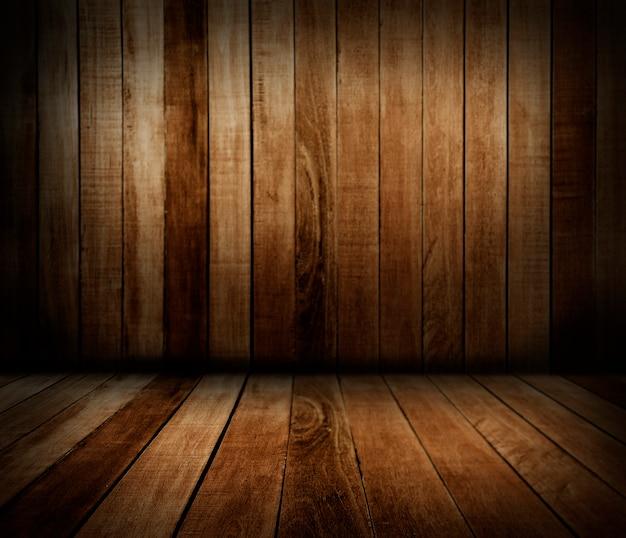 Parede de madeira e piso