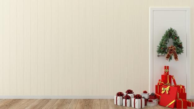 Parede de madeira interior de madeira 3d modelo caixa de presente de árvore de natal