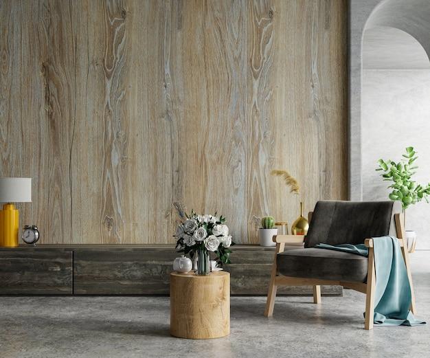 Parede de madeira montada em uma sala de cimento com poltrona.