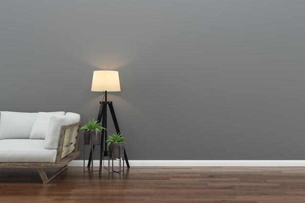 Parede de madeira piso interior sofá cadeira lâmpada interior 3d sala de estar