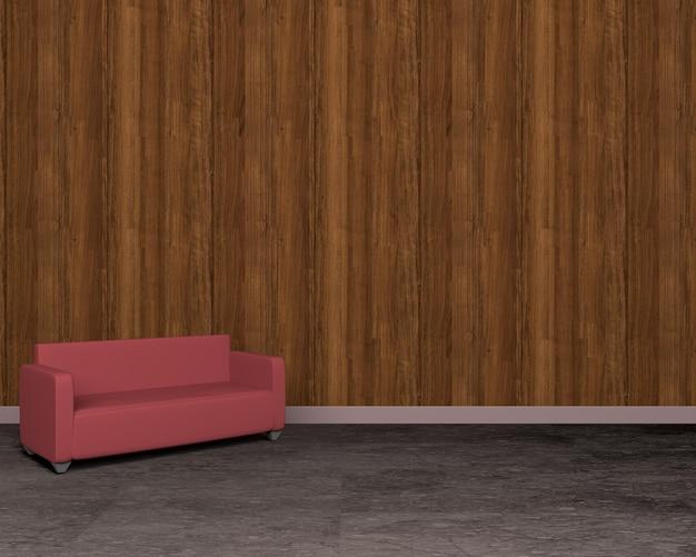 Parede de madeira vintage e sofá vermelho no chão, renderização em 3d