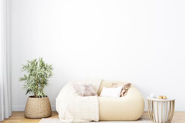 Parede de maquete na sala de estar estilo boho em fundo de parede branca