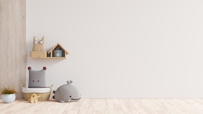 Parede de maquete no quarto das crianças em fundo de cores brancas de parede.