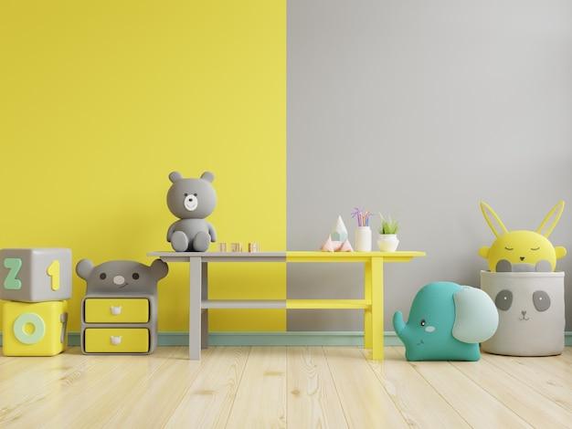 Parede de maquete no quarto das crianças iluminada em amarelo e fundo de parede cinza definitivo. renderização 3d