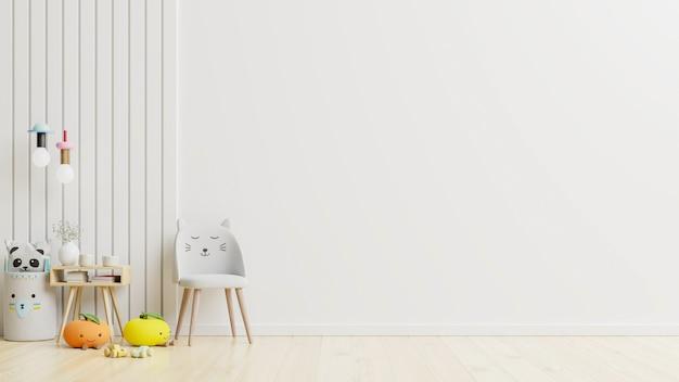 Parede de maquete no quarto das crianças na parede branca. renderização 3d