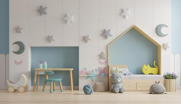Parede de maquete no quarto das crianças nas cores da parede azul