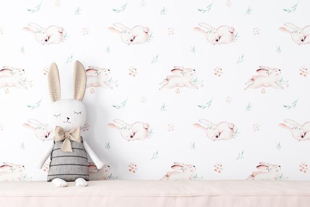 Parede de maquete no quarto das crianças no fundo do papel de parede