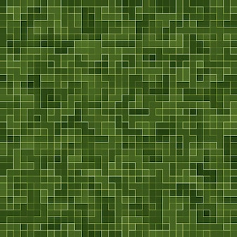 Parede de mosaico de mosaico de pixel quadrado verde brilhante