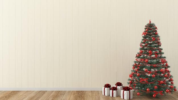 Parede de natal madeira interior 3d modelo árvore de natal