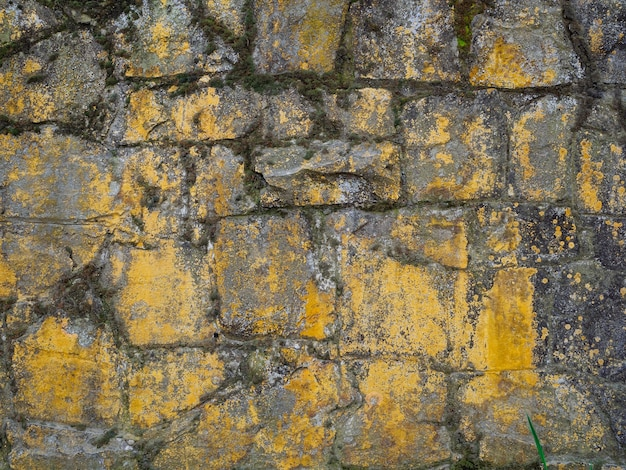 Parede de pedra antiga coberta com musgo, close-up. fundo de pedra natural, textura.