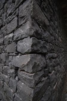 Parede de pedra cinza escura