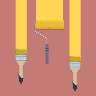 Parede de pintura com pincel ou rolo. coleção de ferramentas artesanais de ilustração vetorial.
