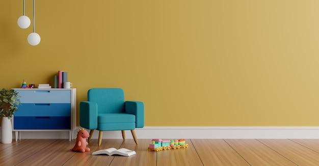 Parede de renderização 3d com espaço de cópia com brinquedos fofos, uma cadeira, alguns móveis e um livro