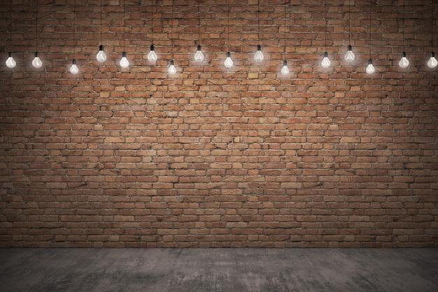 Parede de tijolo áspero laranja & piso de concreto com iluminação.