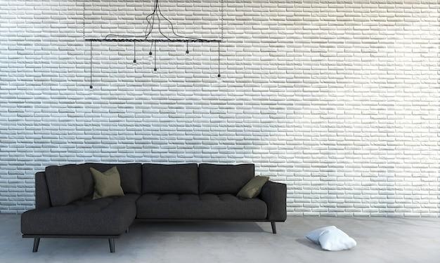 Parede de tijolo branca da rendição 3d com o sofá marrom mínimo