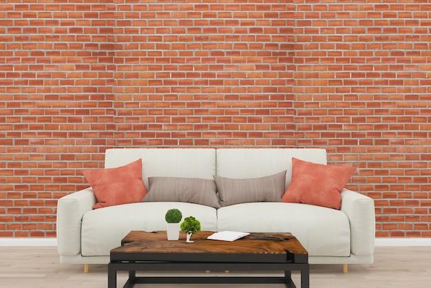 Parede de tijolo sofá cinza sala de estar piso de madeira velha textura 3d