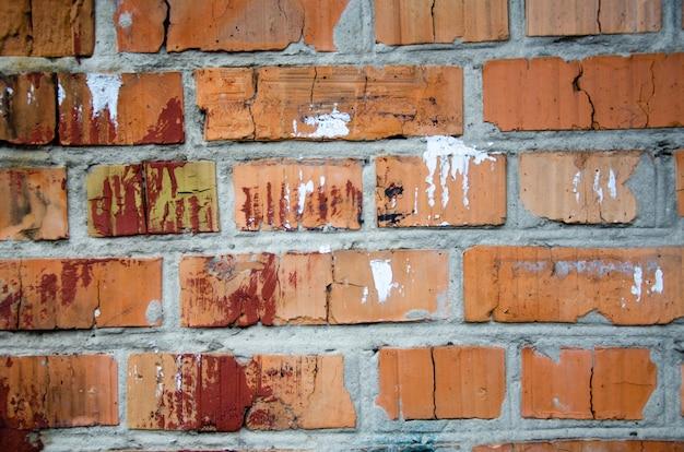 Parede de tijolo velha feita de tijolos vermelhos excelente plano de fundo para o projeto