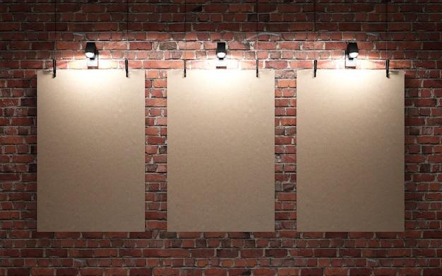 Parede de tijolo vermelho com cartazes e luzes