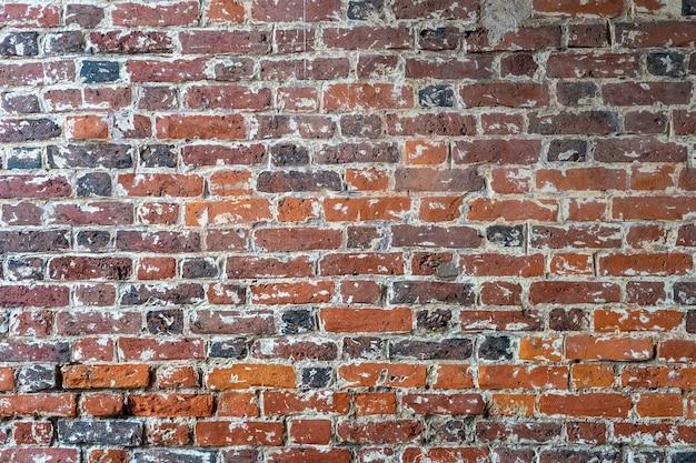 Parede de tijolo vermelho velha. fundo de tijolo.