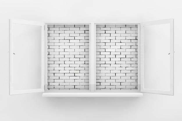 Parede de tijolo, vista através da janela aberta branca closeup extrema. renderização 3d.