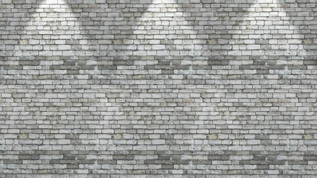 Parede de tijolos 3d com três holofotes brilhando