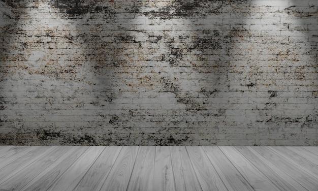Parede de tijolos brancos e piso de madeira