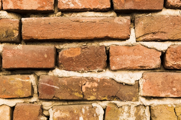 Parede de tijolos com cimento