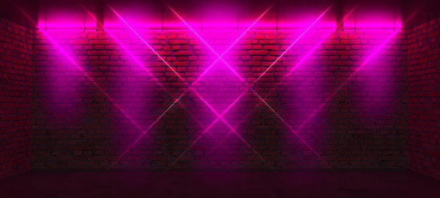 Parede de tijolos com luzes de néon rosa
