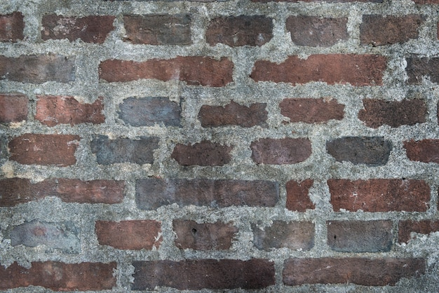 Parede de tijolos de brown com fundo da textura do cimento. estilo do sótão.