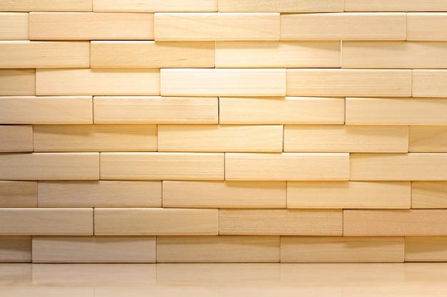 Parede de tijolos de fundo de blocos de madeira