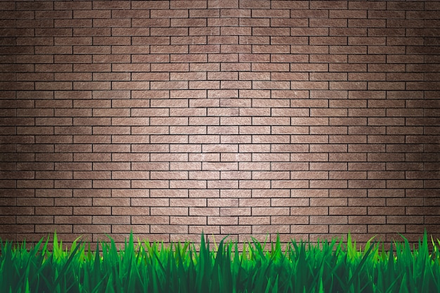 Parede de tijolos e grama de fundo ou papel de parede