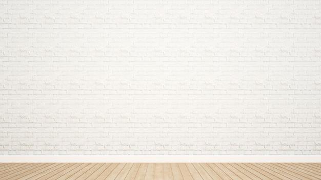 Parede de tijolos e piso de madeira na sala de obras de arte - renderização em 3d