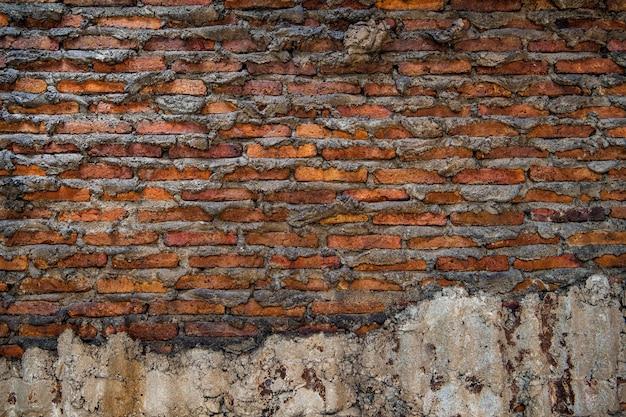 Parede de tijolos em branco exterior antiga