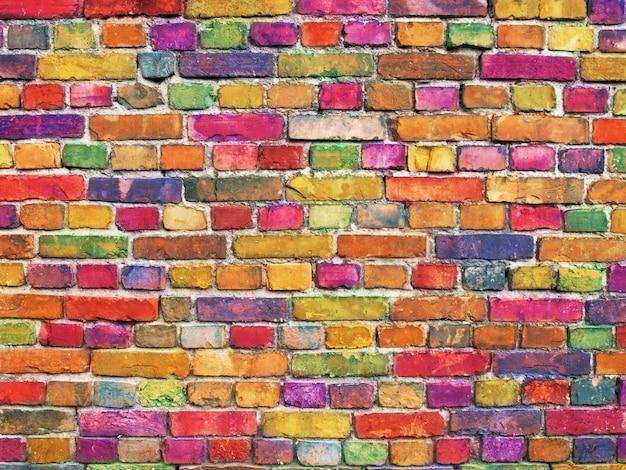 Parede de tijolos multicolor, fundo de superfície de pedra de cor brilhante