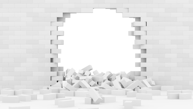 Parede de tijolos quebrada com grande buraco