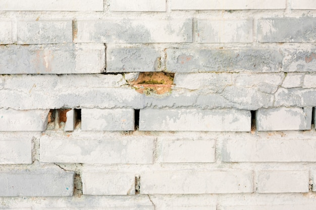 Parede de tijolos sujos com tinta
