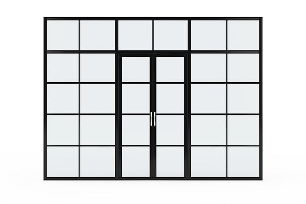 Parede de vidro, divisor de sala de vidro com portas em um fundo branco. renderização 3d