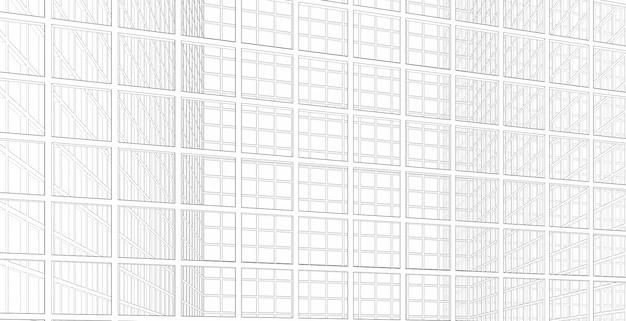 Parede de vidro moderna estrutura abstrata em uma estrutura quadrada, ilustração 3d