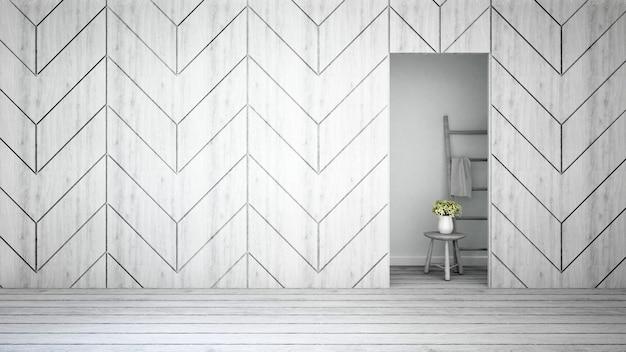 Parede decorar e flor branca em casa ou apartamento - 3d renderi