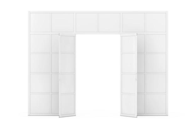 Parede, divisória com portas em estilo clay em um fundo branco. renderização 3d