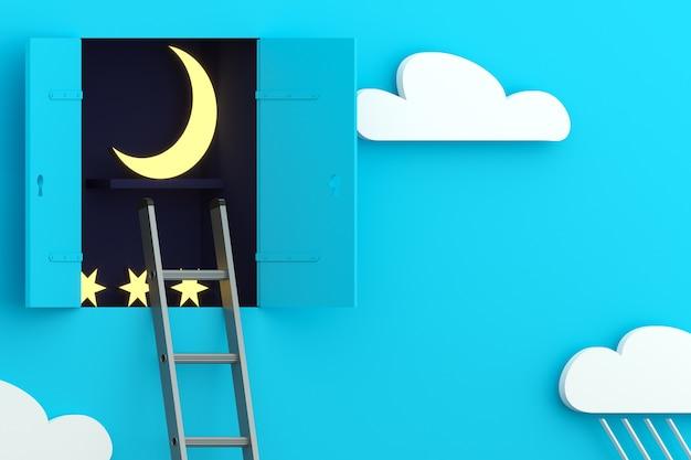 Parede do conceito com nuvens de dia de noite de armário.