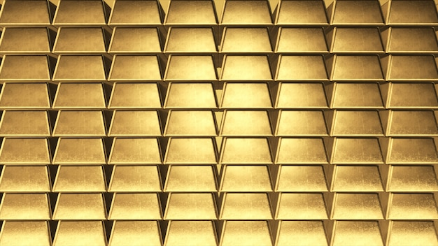 Parede do fundo de lingotes de ouro no lado