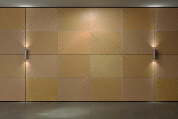 Parede do fundo dos painéis da madeira compensada. lâmpadas. textura de painéis folheados de madeira ou fachada interior